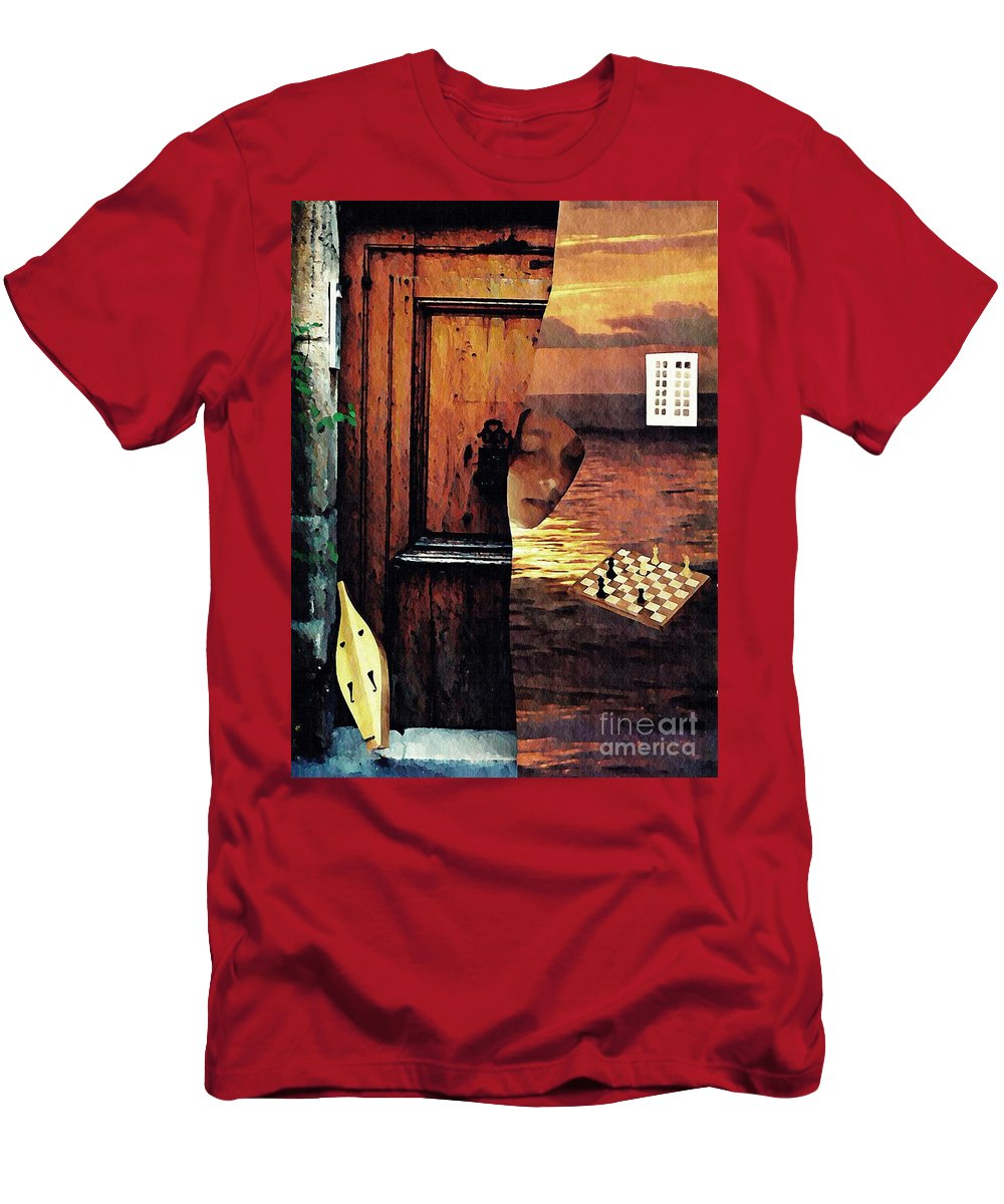 Music Men's T-Shirt (Athletic Fit) featuring the mixed media Between by Sarah Loft
