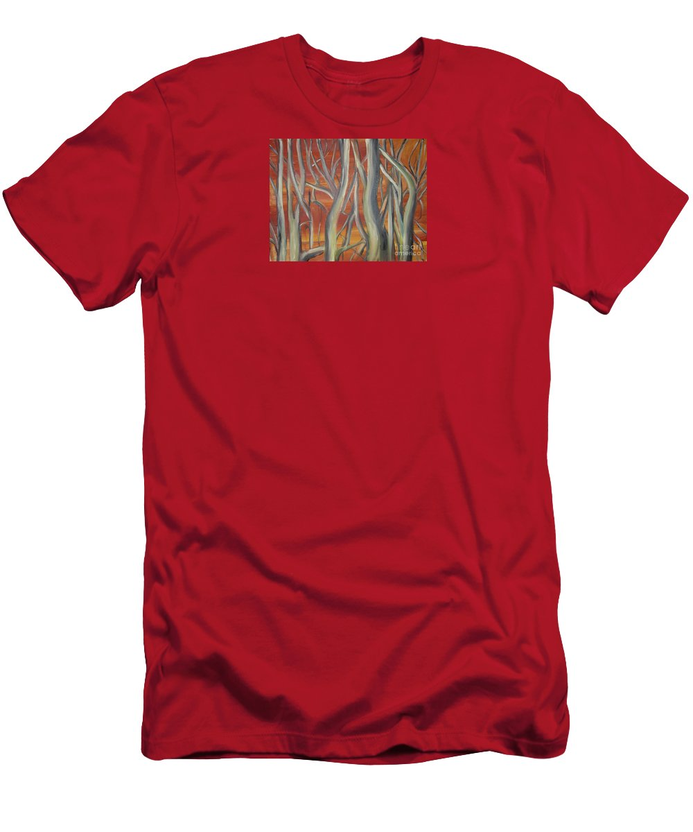 Trees Forest Original Painting Abstract T-Shirt featuring the painting Beyond by Leila Atkinson