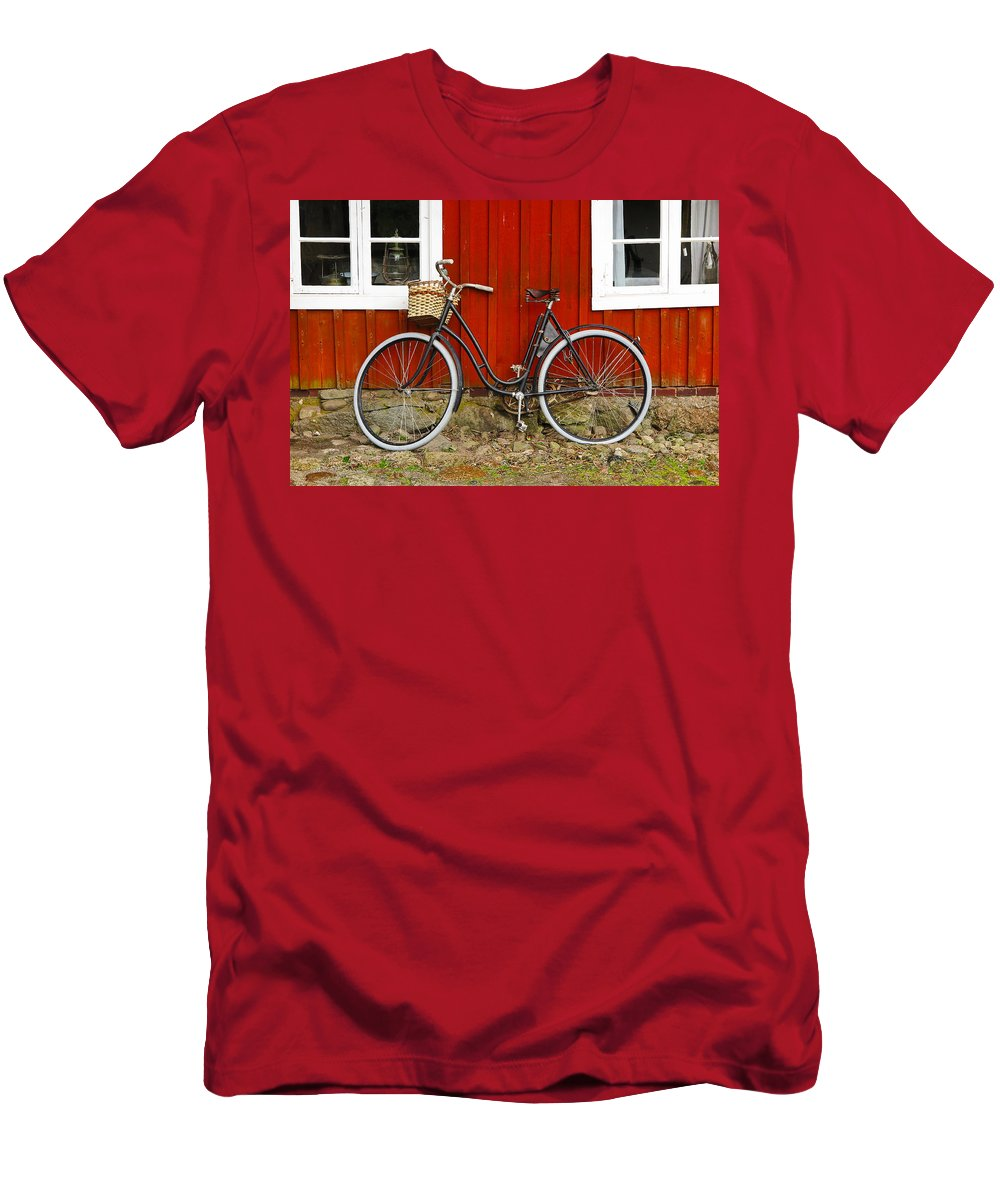 Bicycle Men's T-Shirt (Athletic Fit) featuring the photograph Bicycle In Front Of Red House In Sweden by Greg Matchick