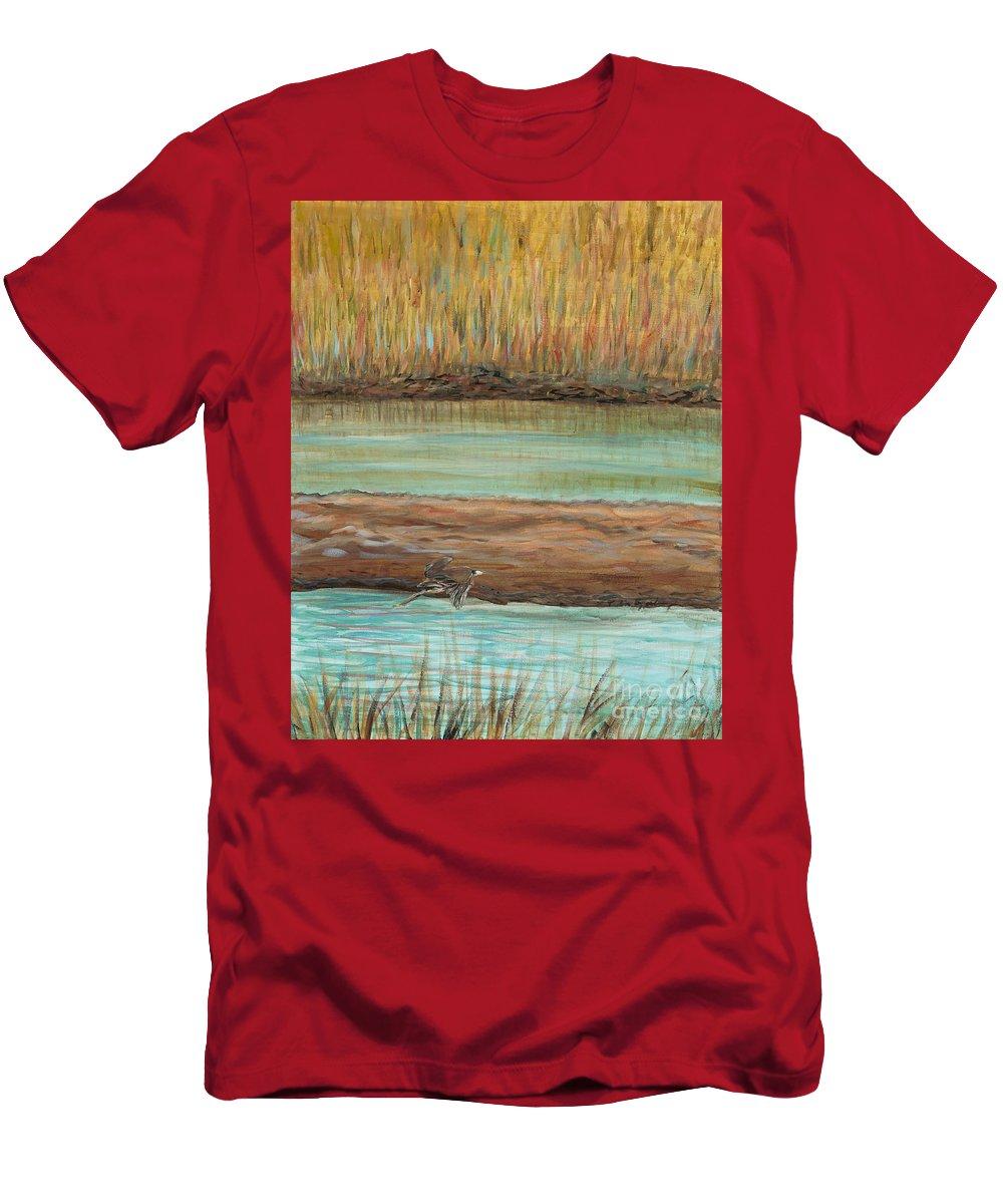 Bird T-Shirt featuring the painting Bird in Flight by Nadine Rippelmeyer