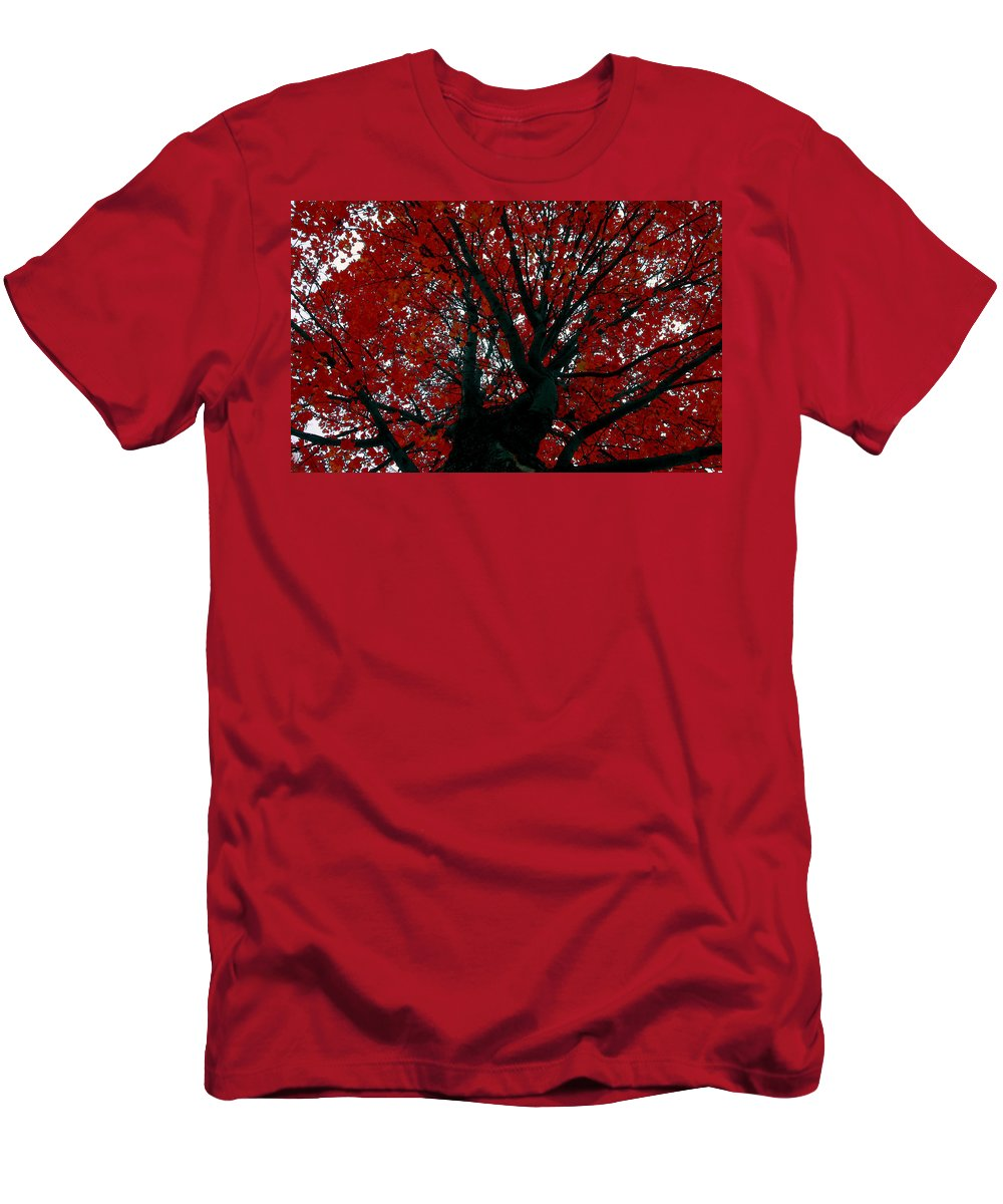 Red Tree Men's T-Shirt (Athletic Fit) featuring the painting Black Bark Red Tree by David Lee Thompson