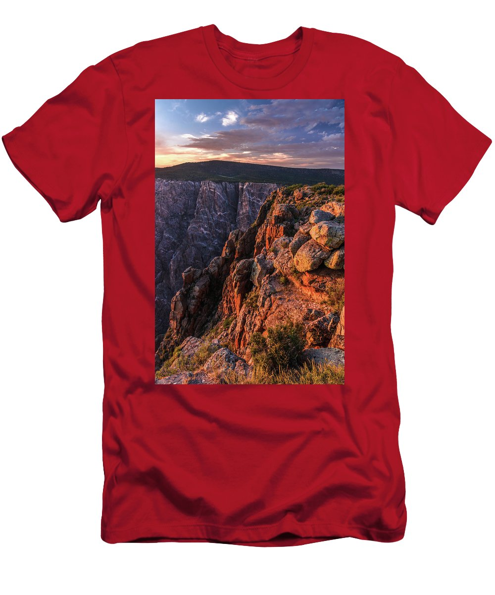 Black Canyon Sunset Men's T-Shirt (Athletic Fit) featuring the photograph Black Canyon Sunset Glow by Lon Dittrick