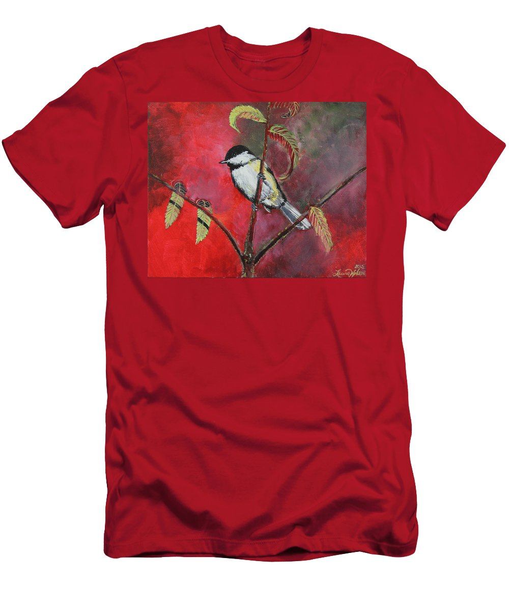 Chickadee Men's T-Shirt (Athletic Fit) featuring the painting Black Capped Chickadee by Laura Wilson