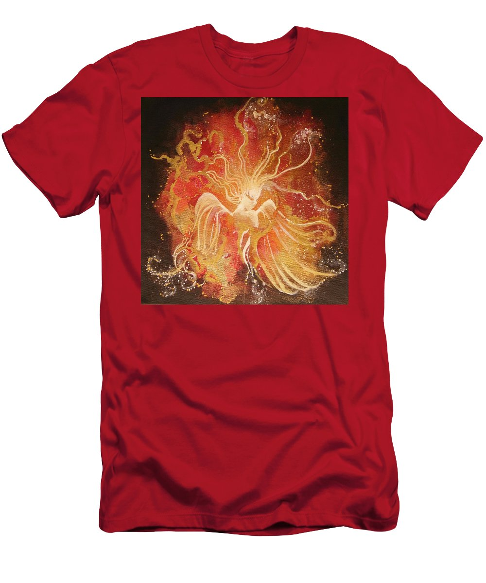 Fire Angel Men's T-Shirt (Athletic Fit) featuring the painting Blissful Fire Angels by Naomi Walker
