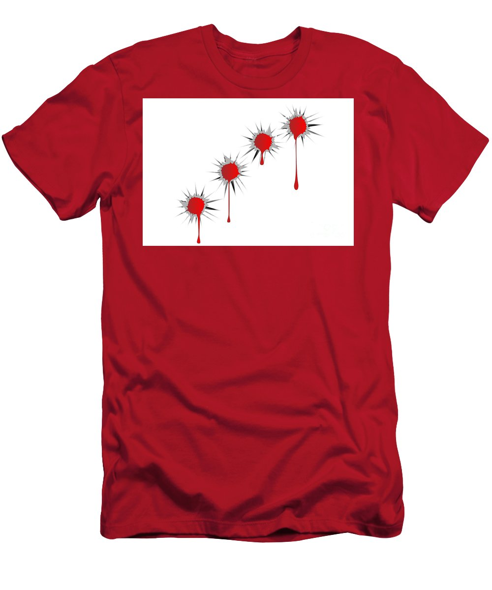 Bullet Holes Men's T-Shirt (Athletic Fit) featuring the digital art Blooded Bullet Holes by Bigalbaloo Stock