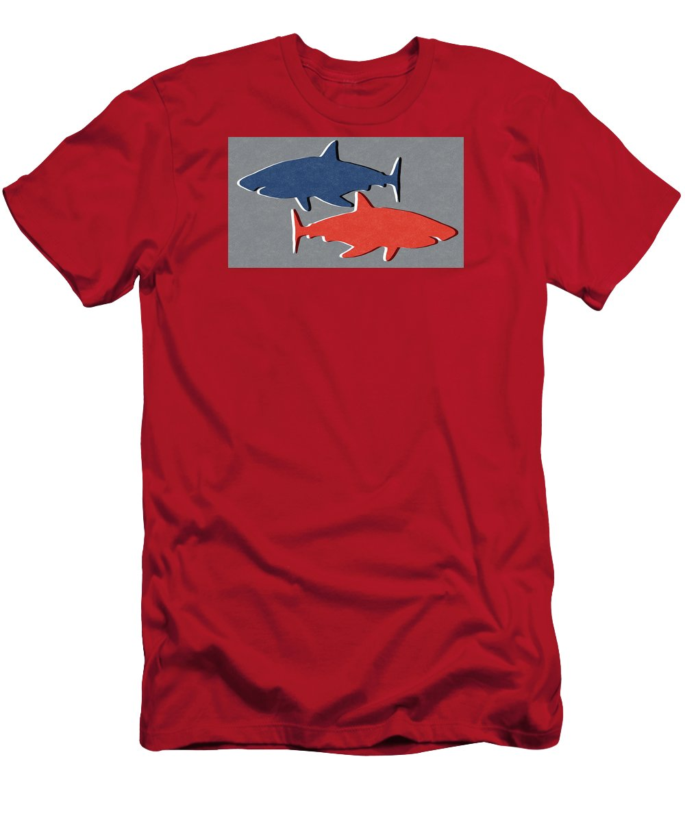 Blue and red sharks t shirt for sale by linda woods for Red and blue t shirt