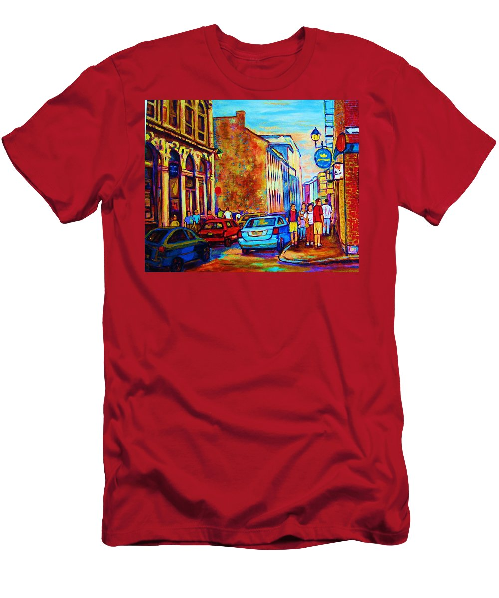Montreal Men's T-Shirt (Athletic Fit) featuring the painting Blue Cars At The Resto Bar by Carole Spandau