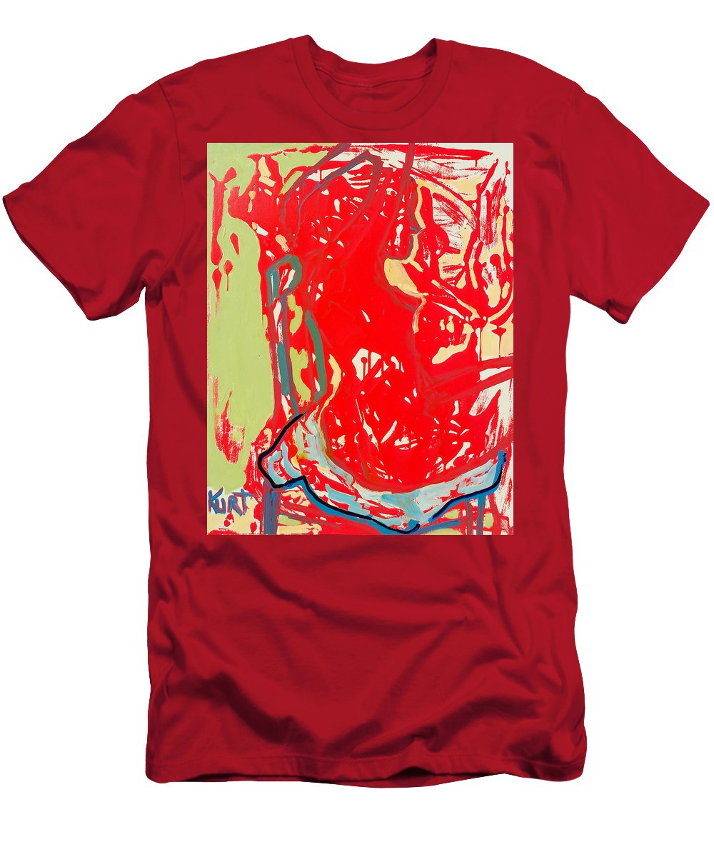 Nude Men's T-Shirt (Athletic Fit) featuring the painting Blue Chair by Kurt Hausmann
