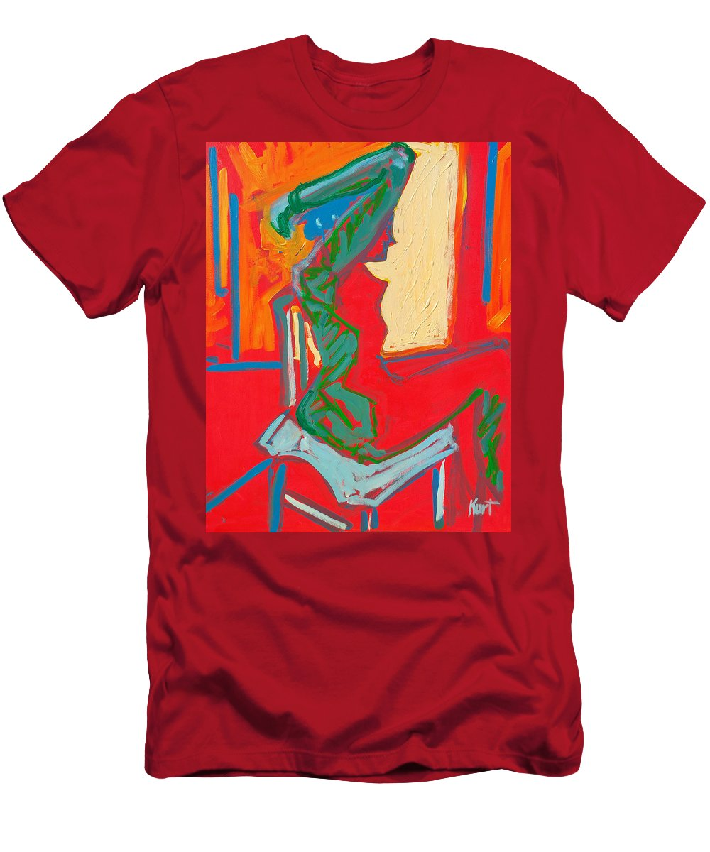 Woman Men's T-Shirt (Athletic Fit) featuring the painting Blue Chair Study by Kurt Hausmann