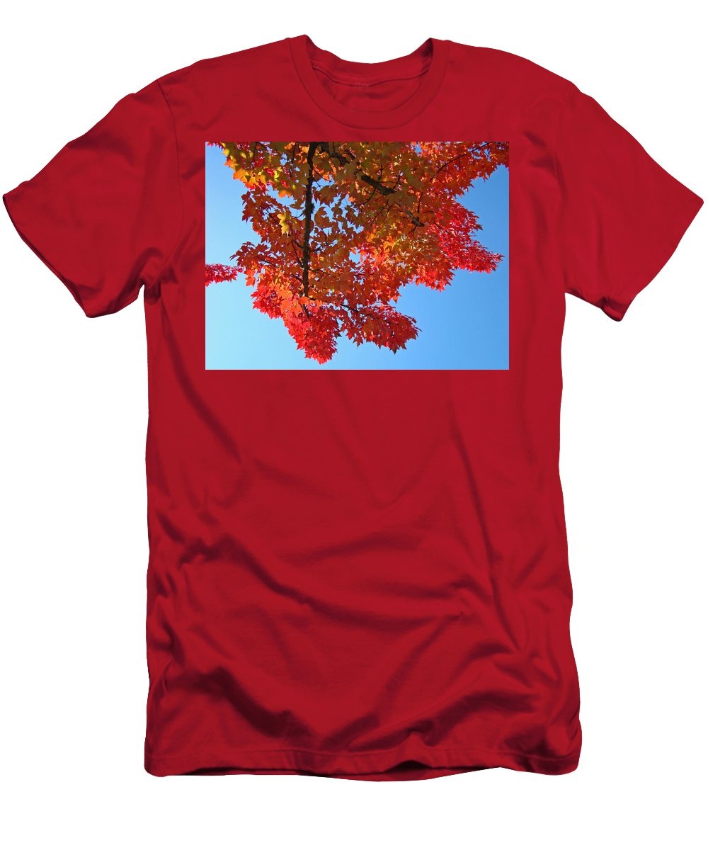 Autumn Men's T-Shirt (Athletic Fit) featuring the photograph Blue Sky Red Autumn Leaves Sunlit Orange Baslee Troutman by Baslee Troutman