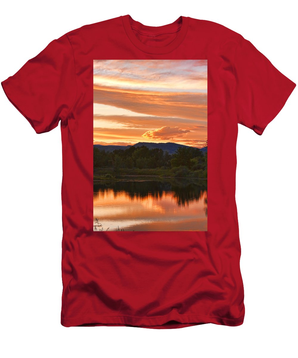 nature Photography Men's T-Shirt (Athletic Fit) featuring the photograph Boulder County Lake Sunset Vertical Image 06.26.2010 by James BO Insogna