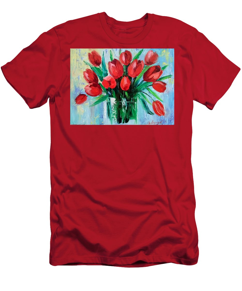 Bouquet Of Tulips Men's T-Shirt (Athletic Fit) featuring the painting Bouquet Of Tulips by Olha Darchuk
