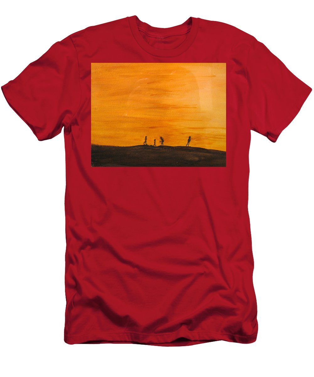 Boys Men's T-Shirt (Athletic Fit) featuring the painting Boys At Sunset by Ian MacDonald
