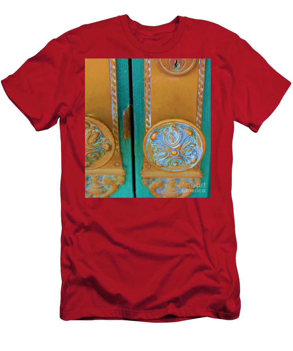 Door Men's T-Shirt (Athletic Fit) featuring the photograph Brass Is Green by Debbi Granruth