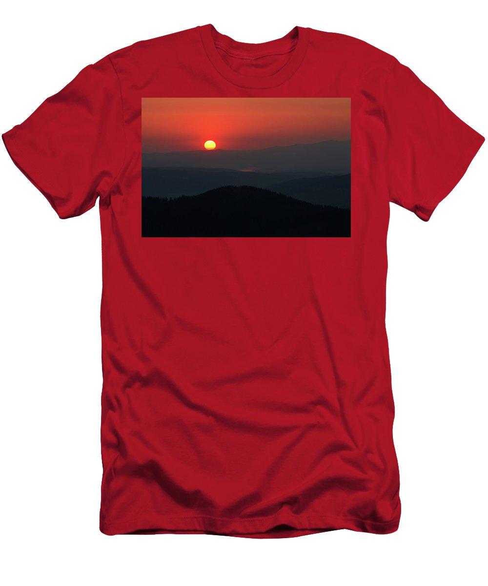 Hill Men's T-Shirt (Athletic Fit) featuring the photograph Breathtaking Sunset At Tatra Mountains, Carpathian Region, Poland by Lukasz Szczepanski