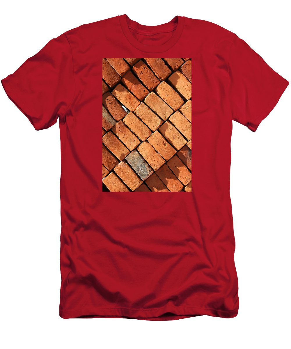 Adobe Men's T-Shirt (Athletic Fit) featuring the photograph Bricks Made From Adobe by Robert Hamm