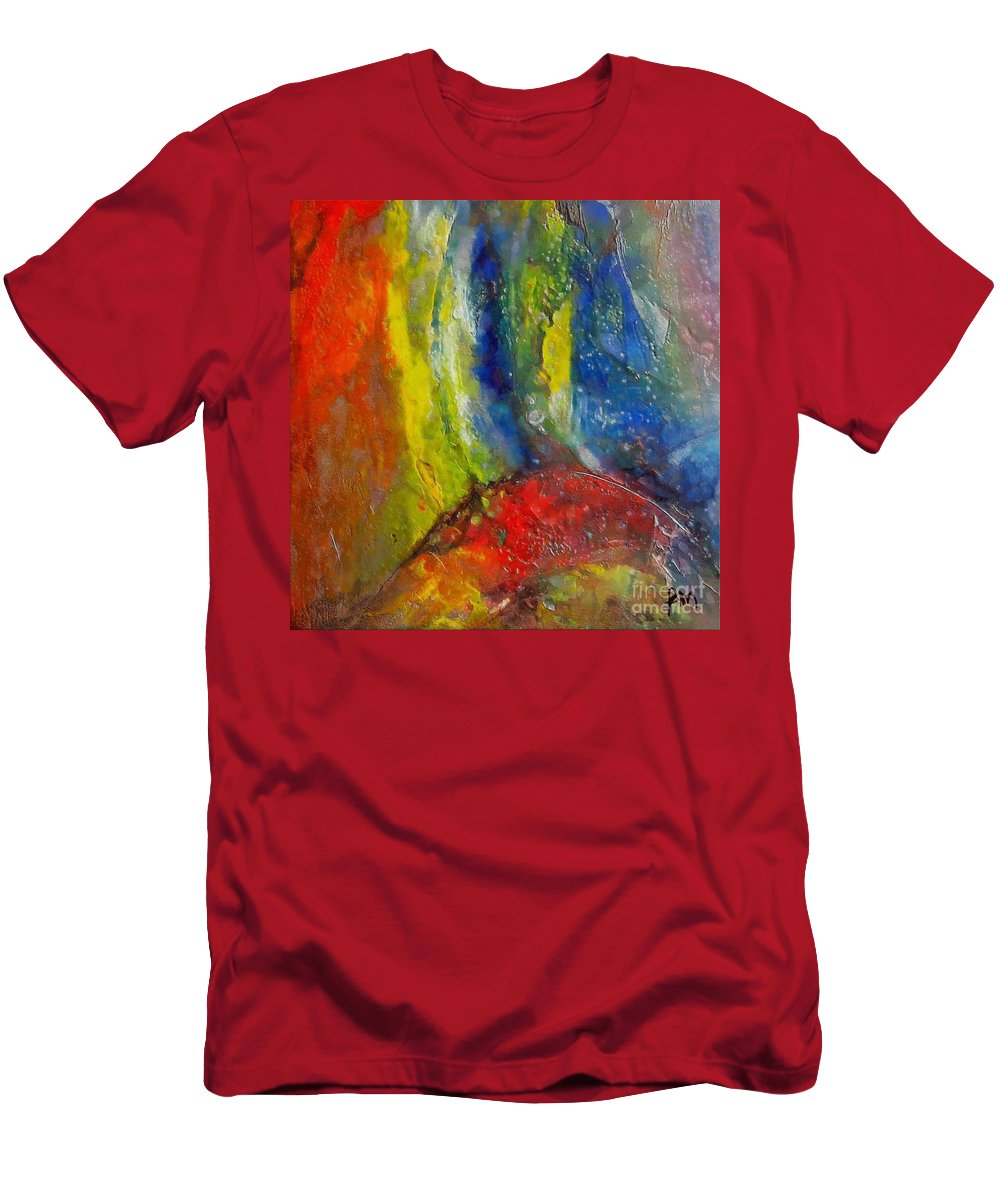 Bridge Men's T-Shirt (Athletic Fit) featuring the painting Bridge Over Troubled Water by Dragica Micki Fortuna