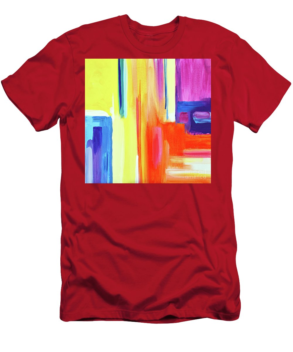 Compelling Vibrant Colorful Minamilist Artwork Consisting Of Mostly Blocky Rectangular Areas . T-Shirt featuring the painting Bright Blocks by Priscilla Batzell Expressionist Art Studio Gallery