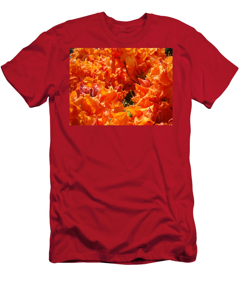 Rhodie Men's T-Shirt (Athletic Fit) featuring the photograph Bright Orange Rhodies Art Prints Canvas Rhododendons Baslee Troutman by Baslee Troutman
