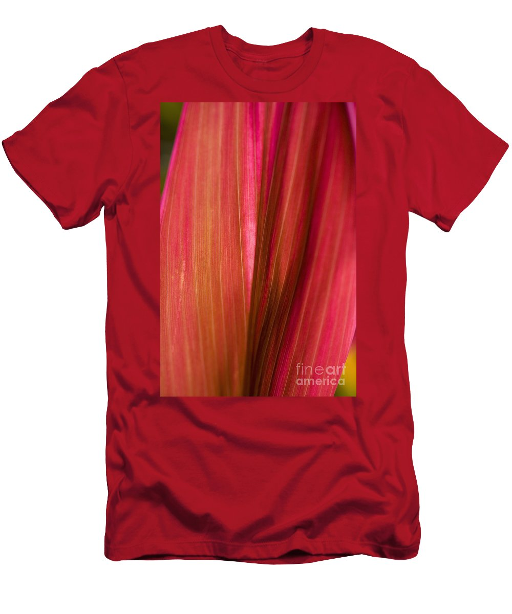 Botanical Men's T-Shirt (Athletic Fit) featuring the photograph Bright Red Leaf by Tomas del Amo - Printscapes