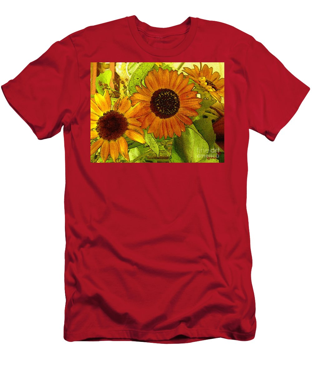 Sunflowers Men's T-Shirt (Athletic Fit) featuring the digital art Bright Regalia by RC DeWinter