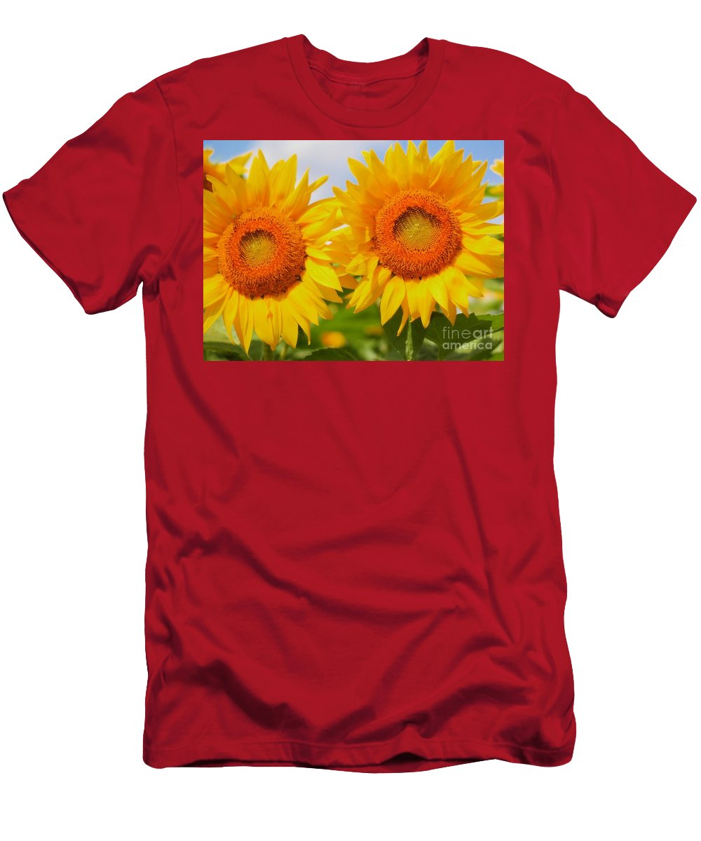 Bright Men's T-Shirt (Athletic Fit) featuring the photograph Bright Sunflowers by Kathleen Struckle