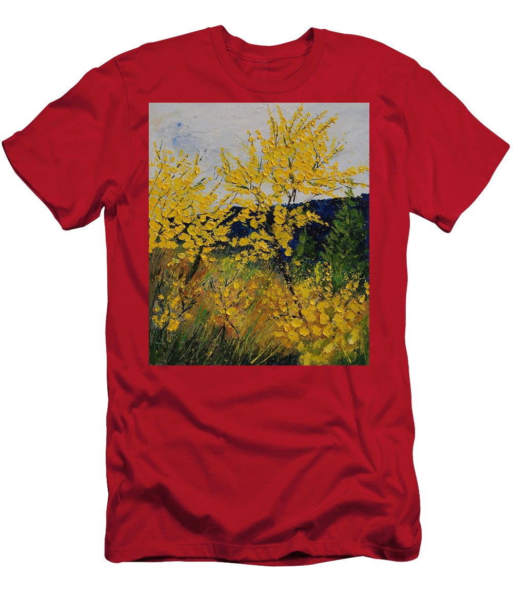 Flowers Men's T-Shirt (Athletic Fit) featuring the painting Brooms by Pol Ledent
