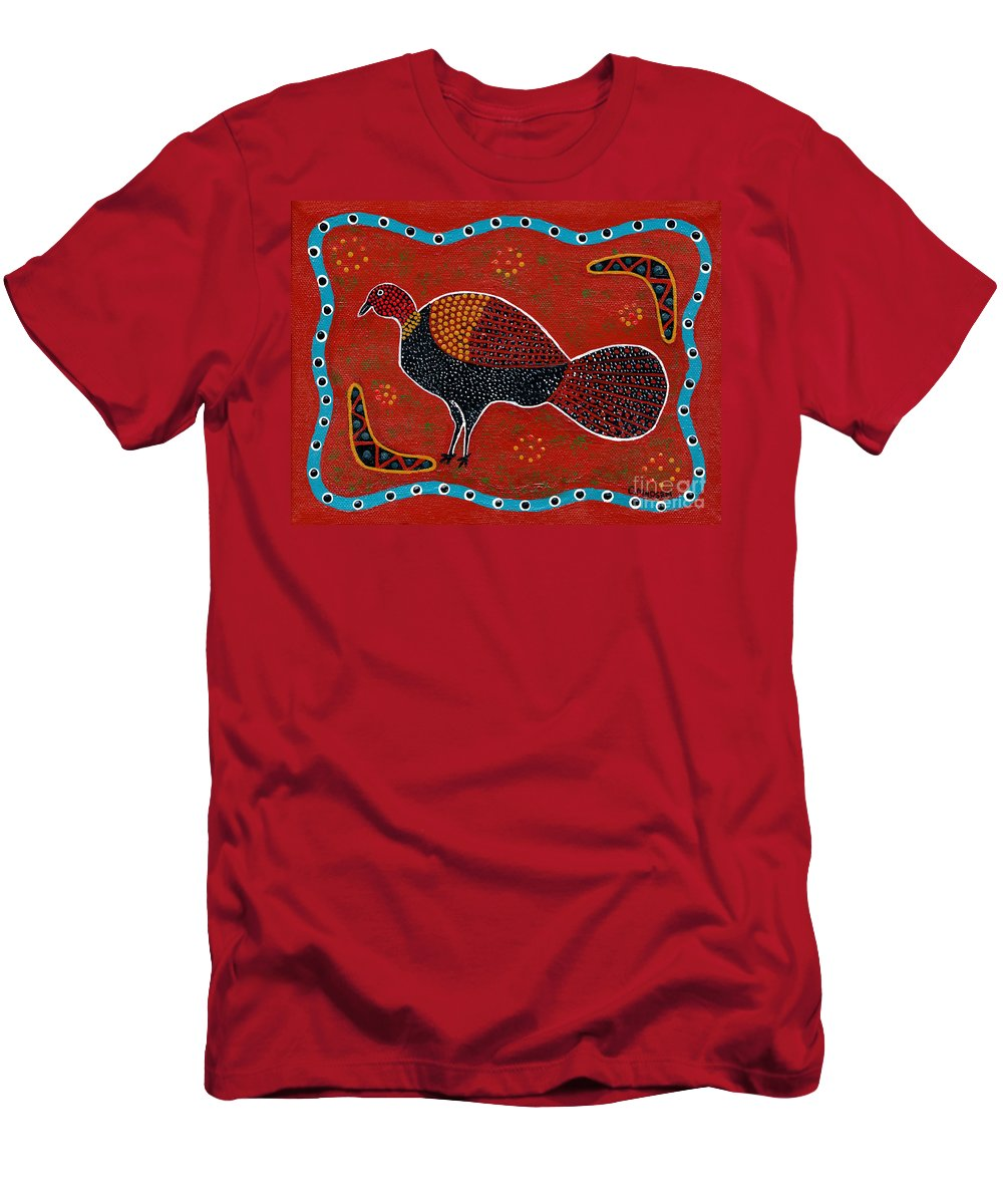 Brushturkey Men's T-Shirt (Athletic Fit) featuring the painting Brush Turkey by Clifford Madsen