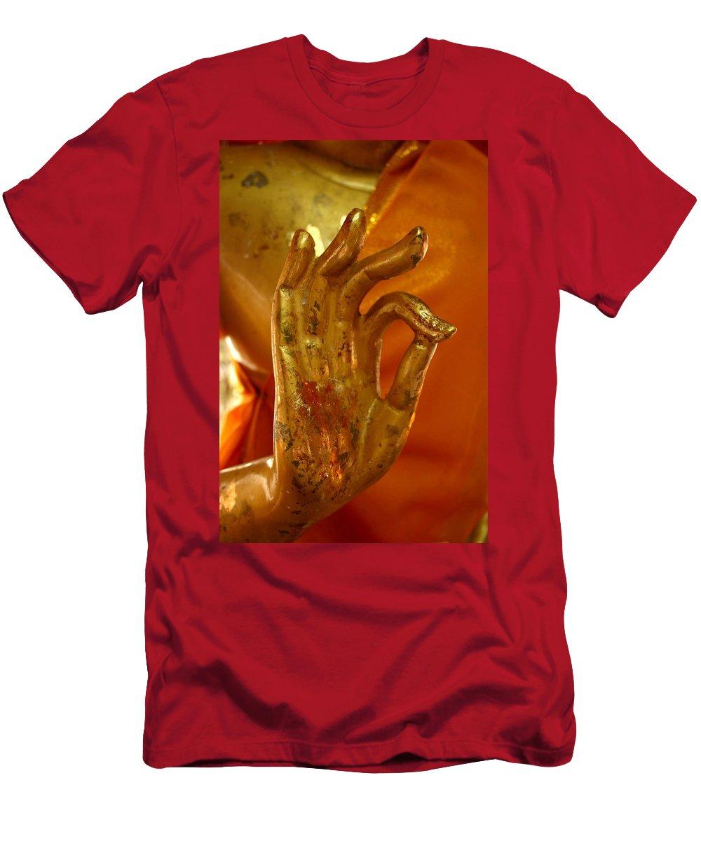 Buddhism Men's T-Shirt (Athletic Fit) featuring the photograph Buddhism Symbols by Minaz Jantz