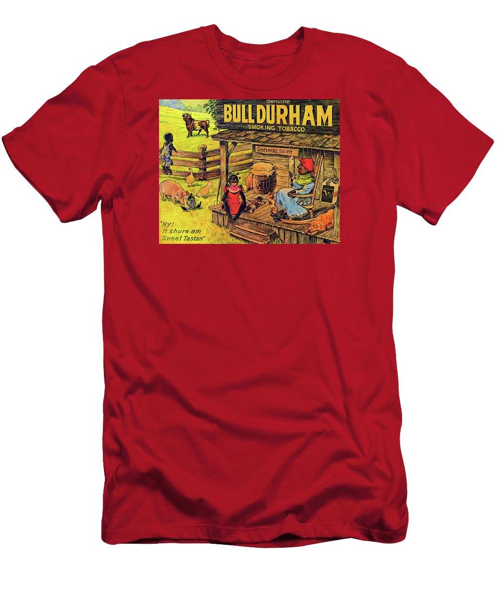 Black Americana Men's T-Shirt (Athletic Fit) featuring the digital art Bull Durham My It Shure Am Sweet Tastan by ReInVintaged
