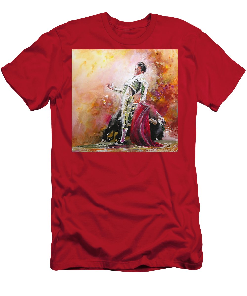 Animals Men's T-Shirt (Athletic Fit) featuring the painting Bullfight 24 by Miki De Goodaboom
