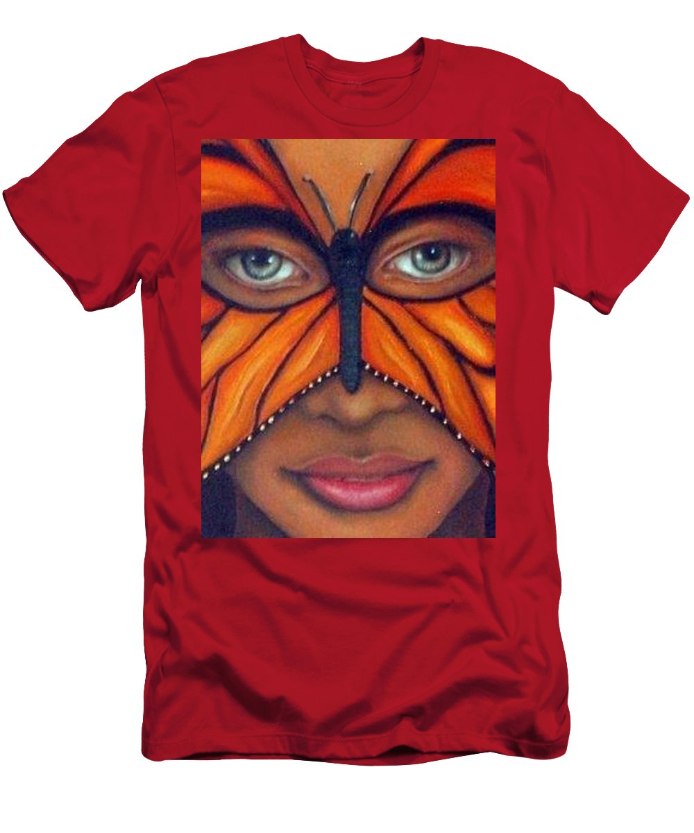 Mask Men's T-Shirt (Athletic Fit) featuring the painting Butterfly Mask by Leah Saulnier The Painting Maniac
