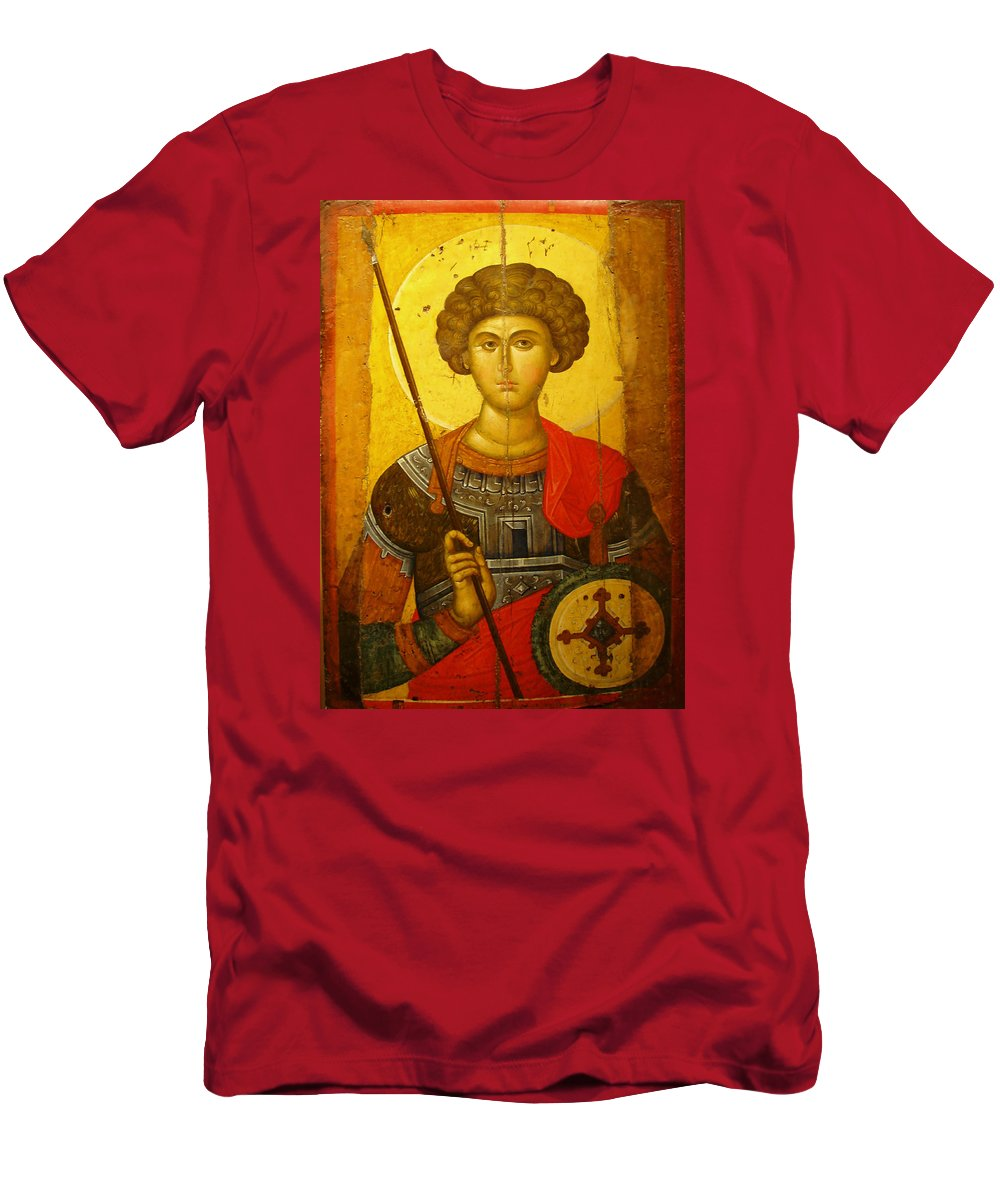Byzantine Knight Men's T-Shirt (Athletic Fit) featuring the photograph Byzantine Knight by Ellen Henneke