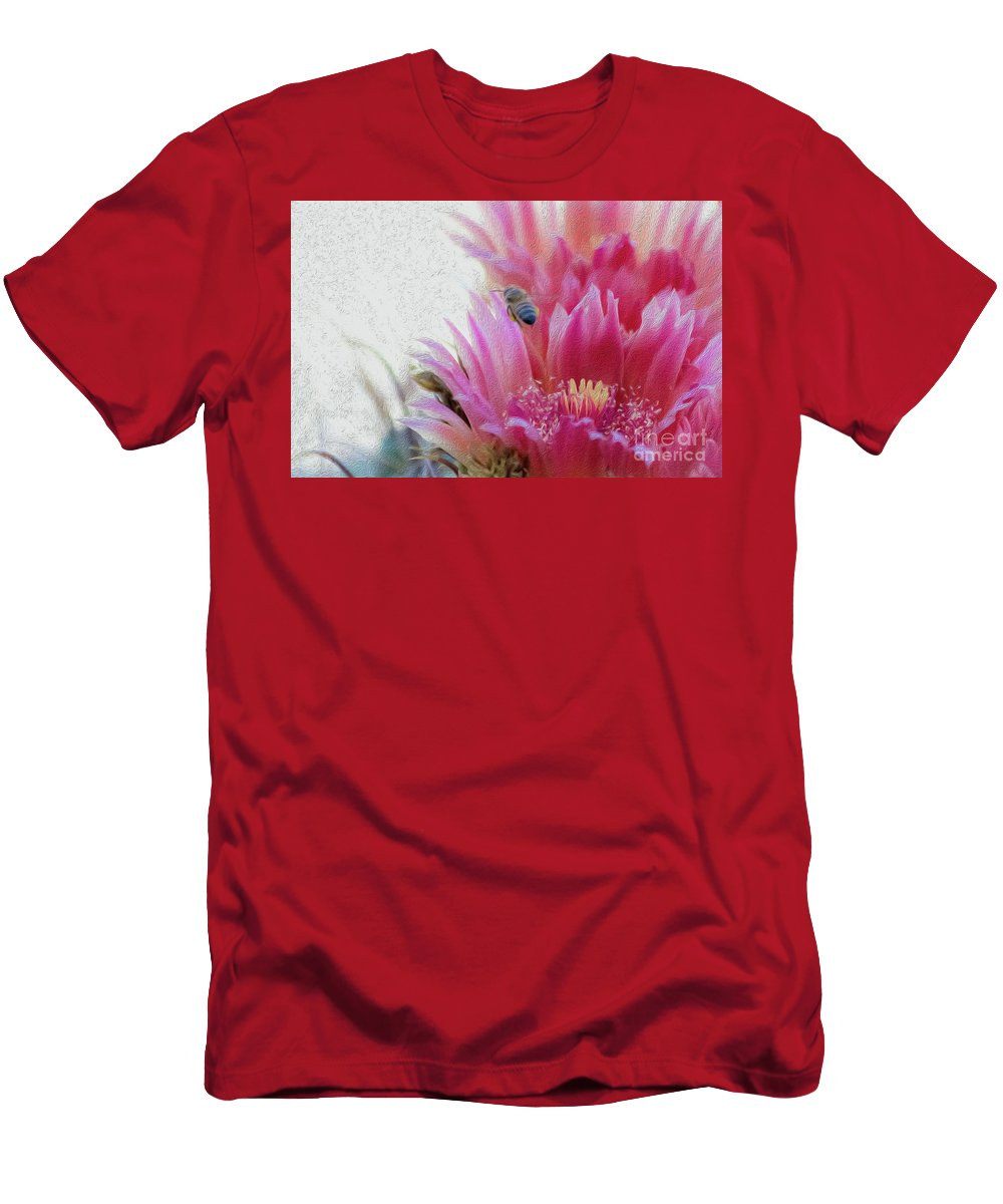 Cactus Flower Men's T-Shirt (Athletic Fit) featuring the photograph Cactus Flower And A Busy Bee by Amy Sorvillo