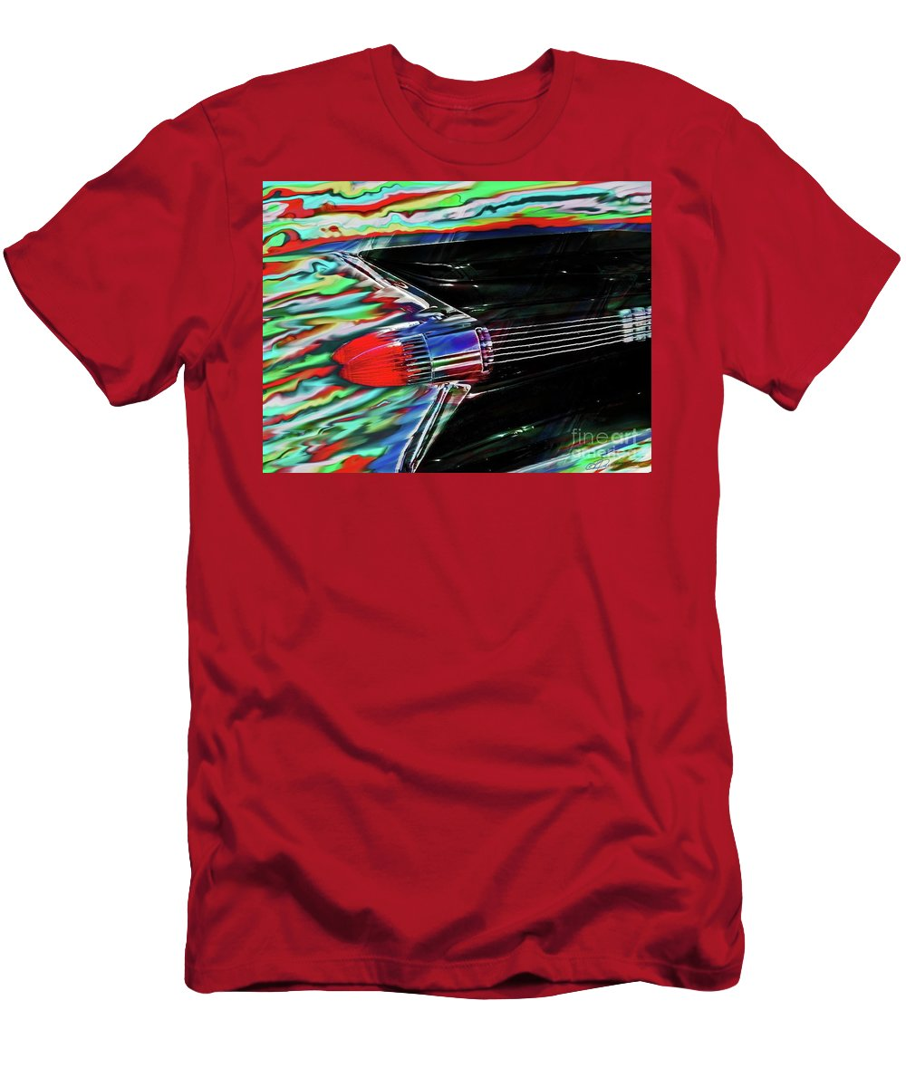 Cadillac Men's T-Shirt (Athletic Fit) featuring the photograph Cadillac Tail Fin Guitar Fantasy by Patricia L Davidson