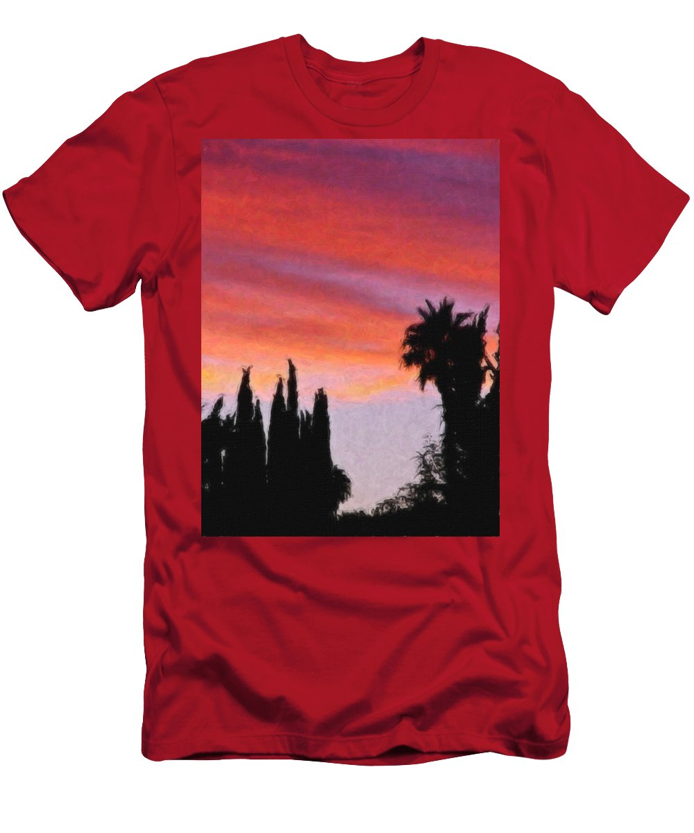 California Men's T-Shirt (Athletic Fit) featuring the painting California Sunset Painting 3 by Teresa Mucha
