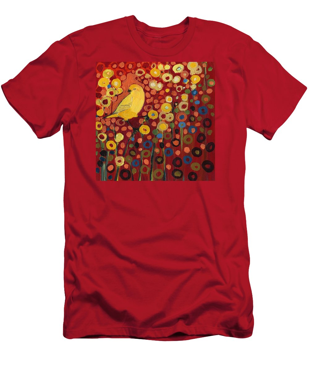 Canary T-Shirt featuring the painting Canary in Red by Jennifer Lommers