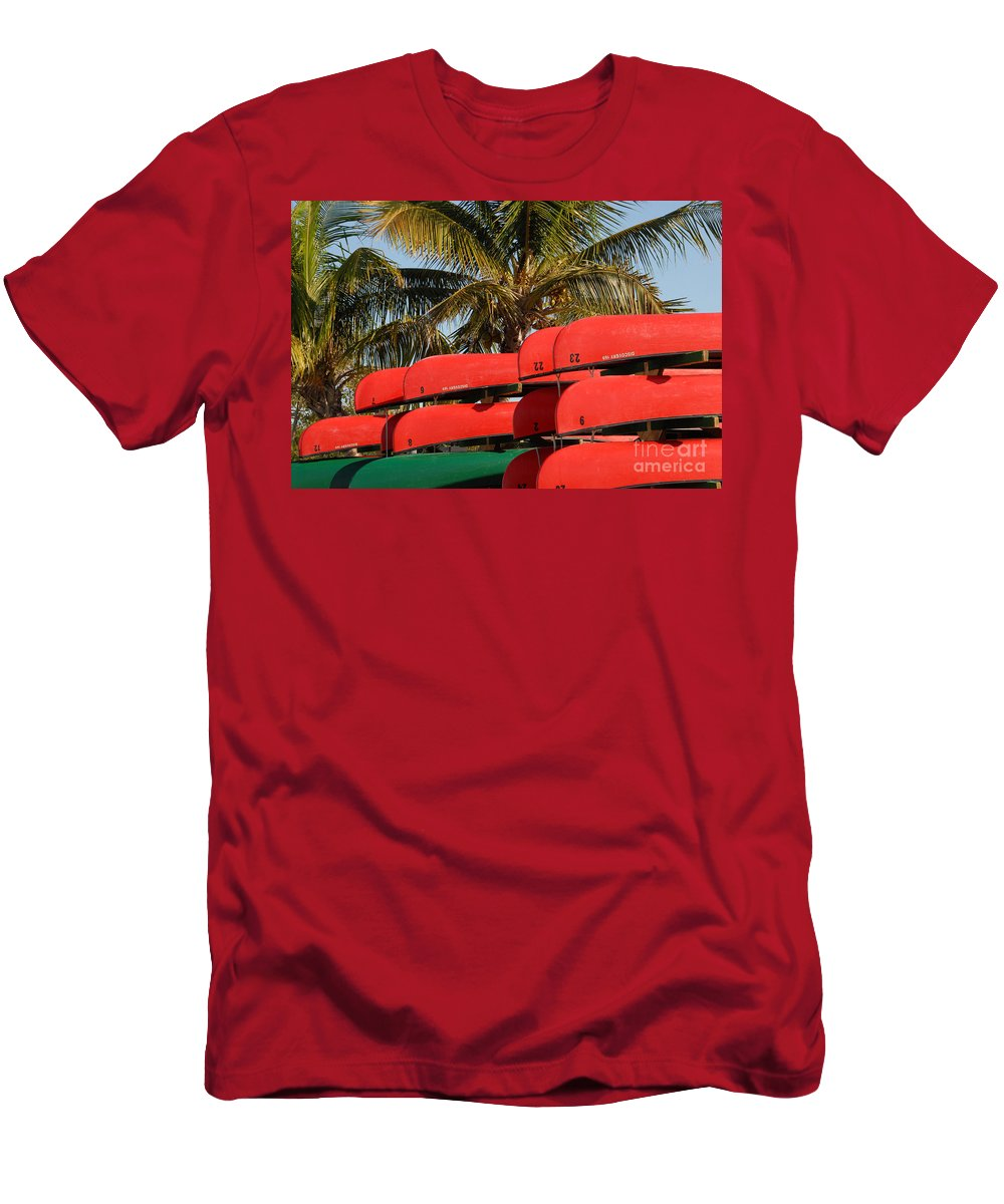 Flamingo Florida Men's T-Shirt (Athletic Fit) featuring the photograph Canoe's At Flamingo by David Lee Thompson