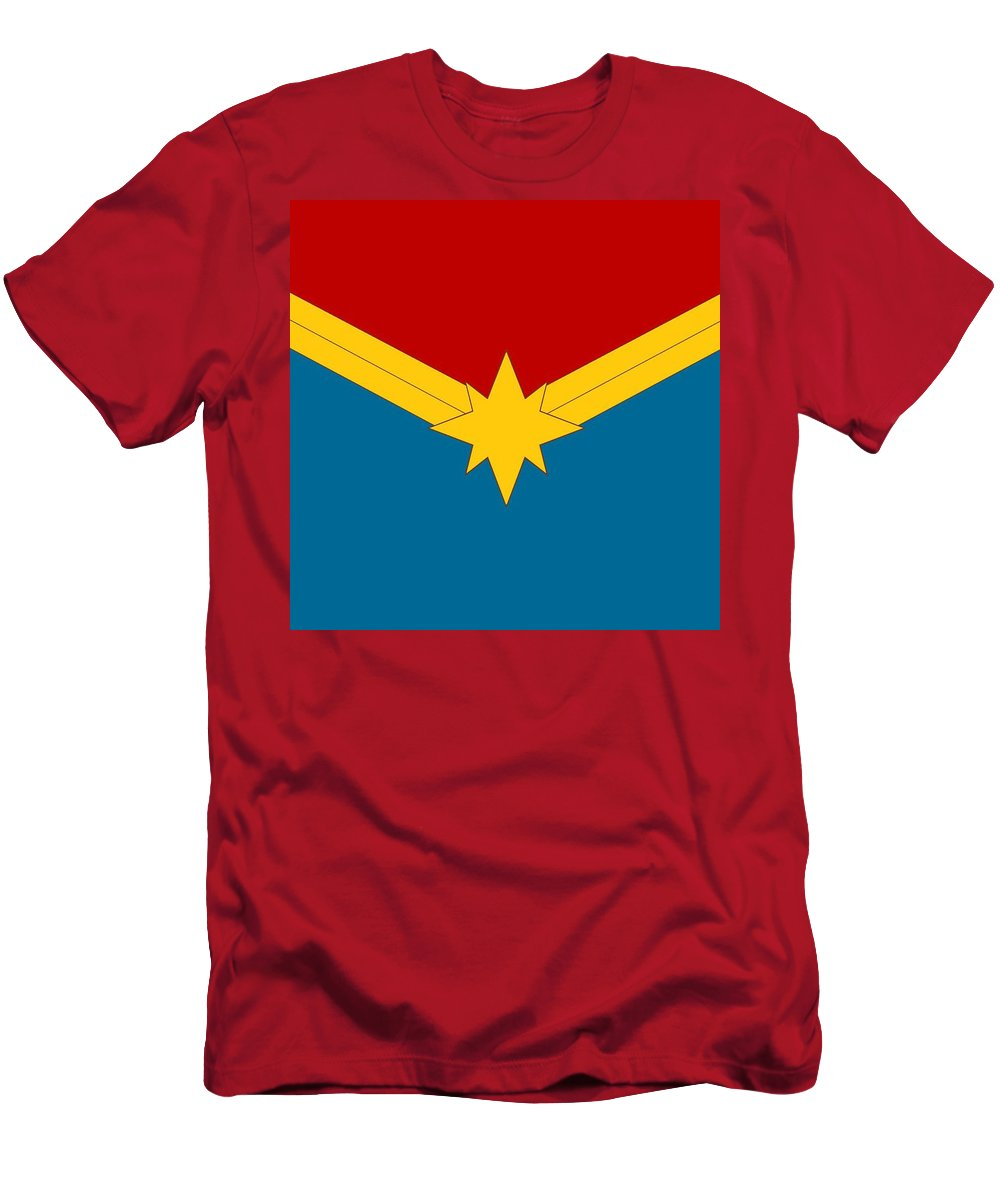 Superheroes Men's T-Shirt (Athletic Fit) featuring the digital art Captain Marvel Logo by Retno Musyakimah