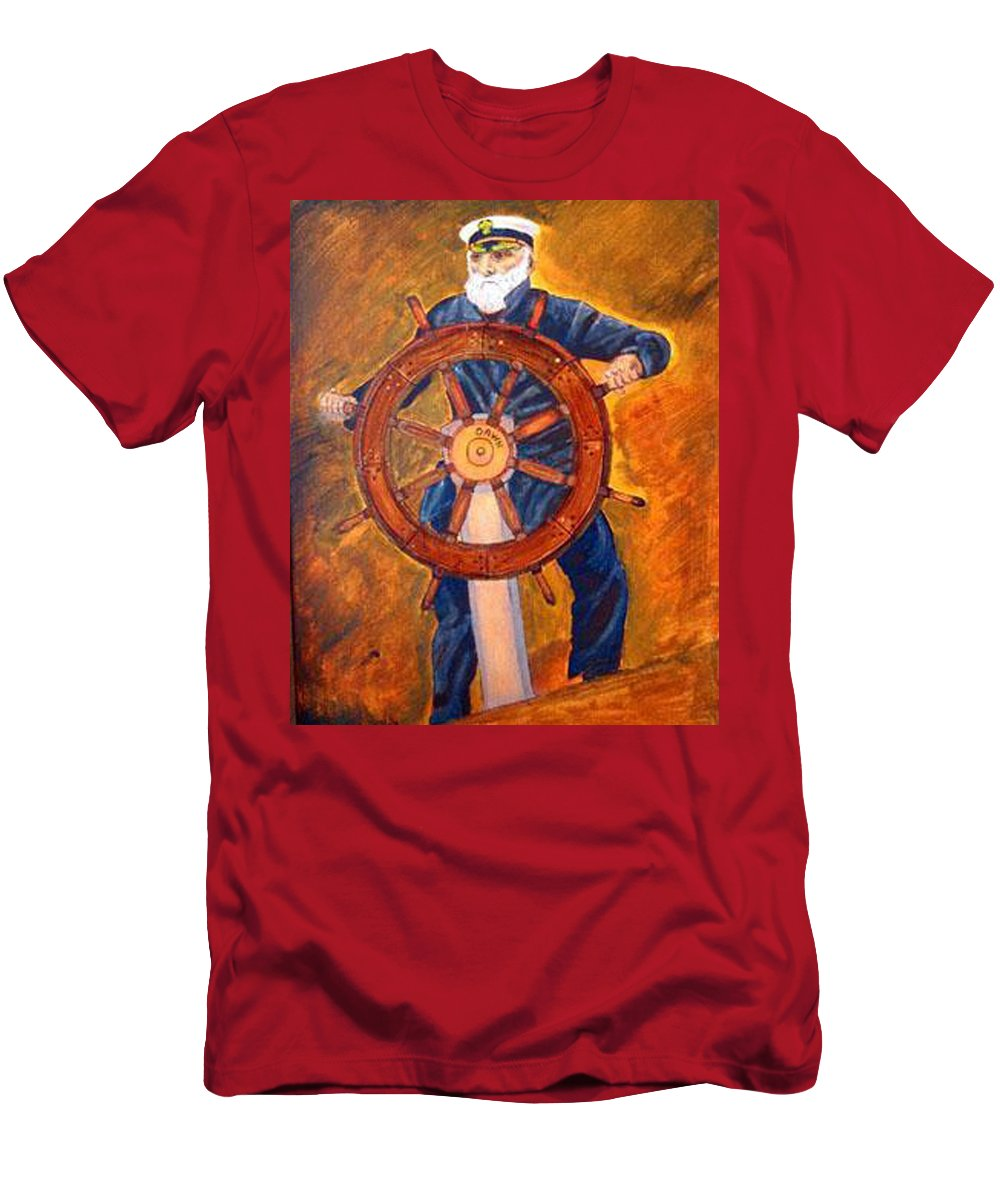 Sailor Men's T-Shirt (Athletic Fit) featuring the painting Captian Of The Dawn by Richard Le Page
