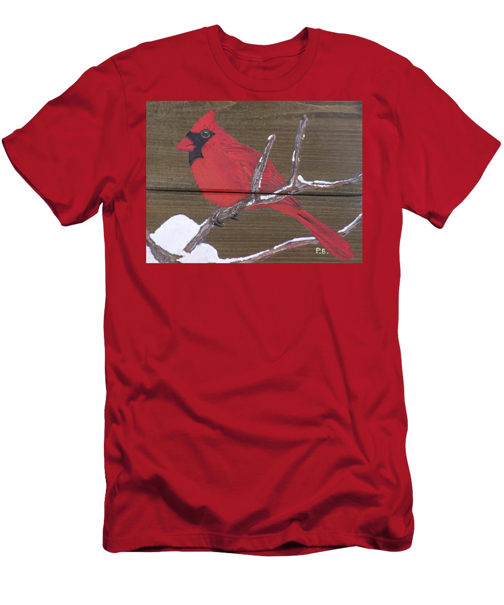 Bird Men's T-Shirt (Athletic Fit) featuring the painting Cardinal 2 by Paul Bashore