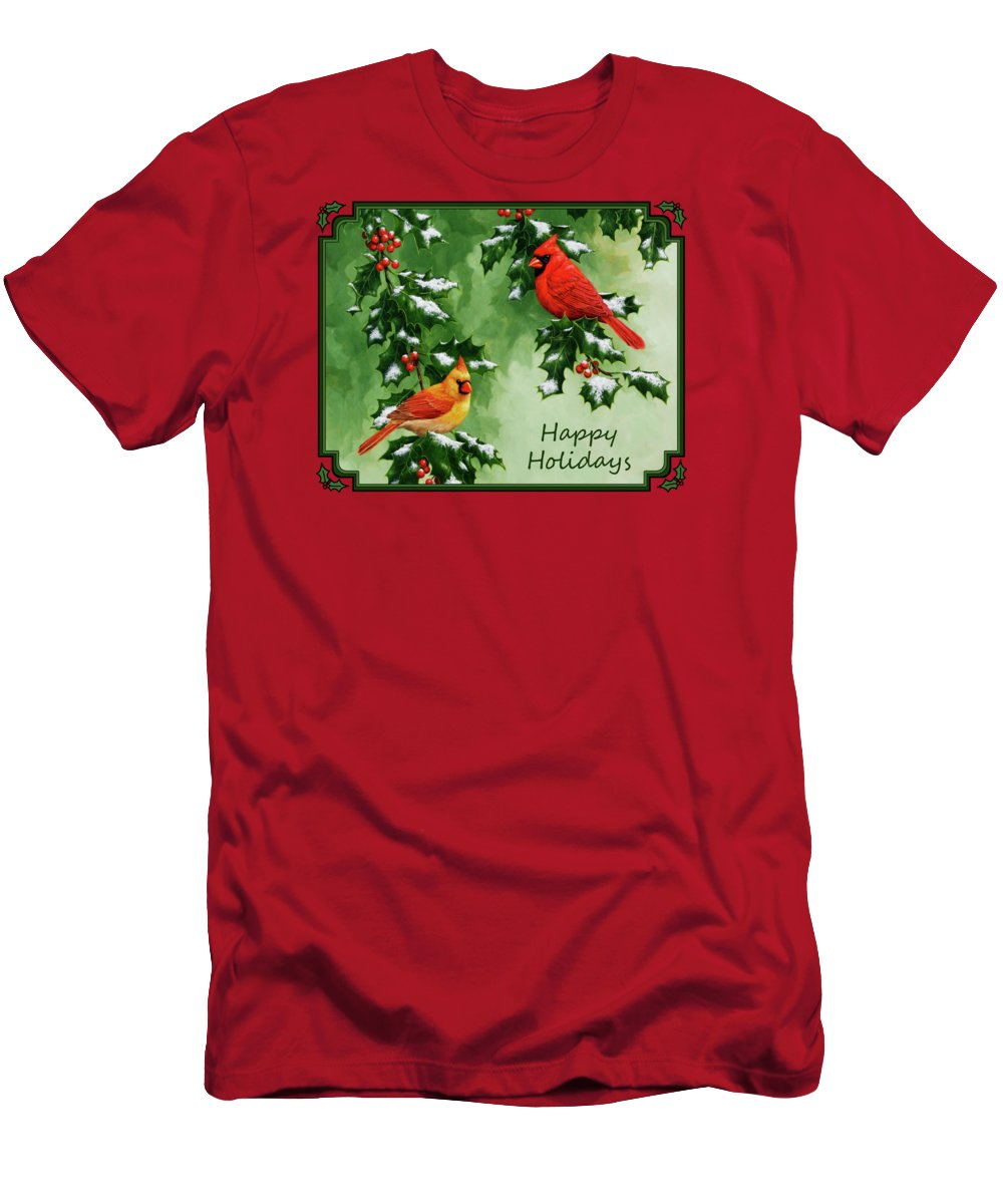 Birds Men's T-Shirt (Athletic Fit) featuring the painting Cardinals Holiday Card - Version With Snow by Crista Forest