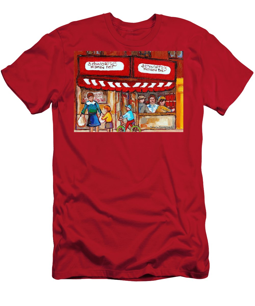 Paintings Of Schwartz Deli Montreal Restaurants Men's T-Shirt (Athletic Fit) featuring the painting Carole Spandau Paints Montreal Memories - Montreal Landmarks - Schwartzs Hebrew Deli St. Laurent by Carole Spandau