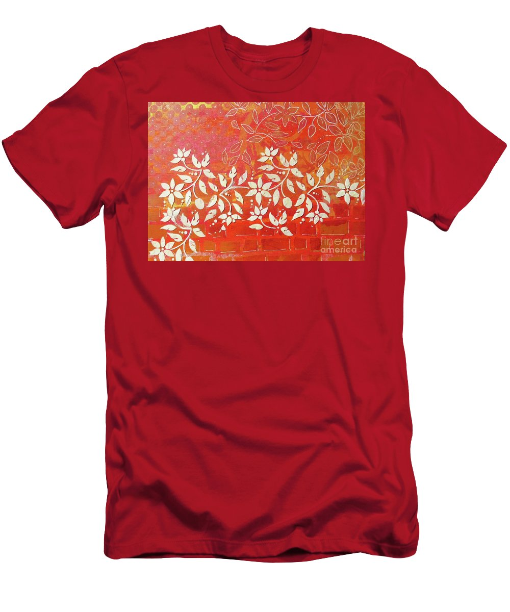 Contemporary Art Men's T-Shirt (Athletic Fit) featuring the mixed media Cascade by Desiree Paquette