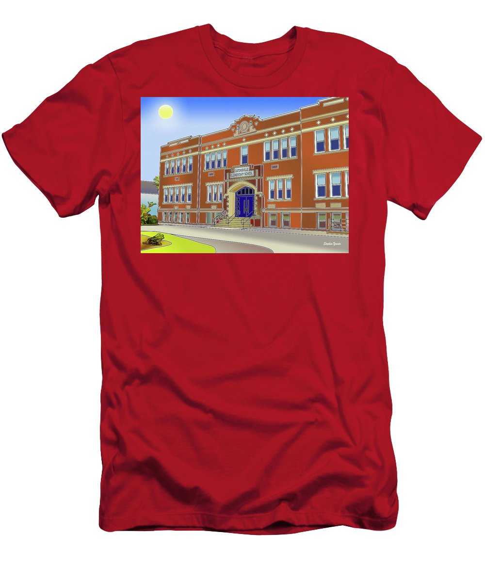 Catonsville Men's T-Shirt (Athletic Fit) featuring the digital art Catonsville Elementary School by Stephen Younts