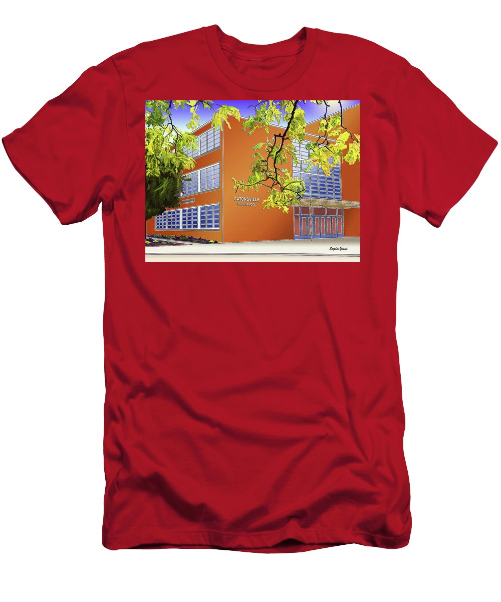 Catonsville Men's T-Shirt (Athletic Fit) featuring the digital art Catonsville Senior High School by Stephen Younts