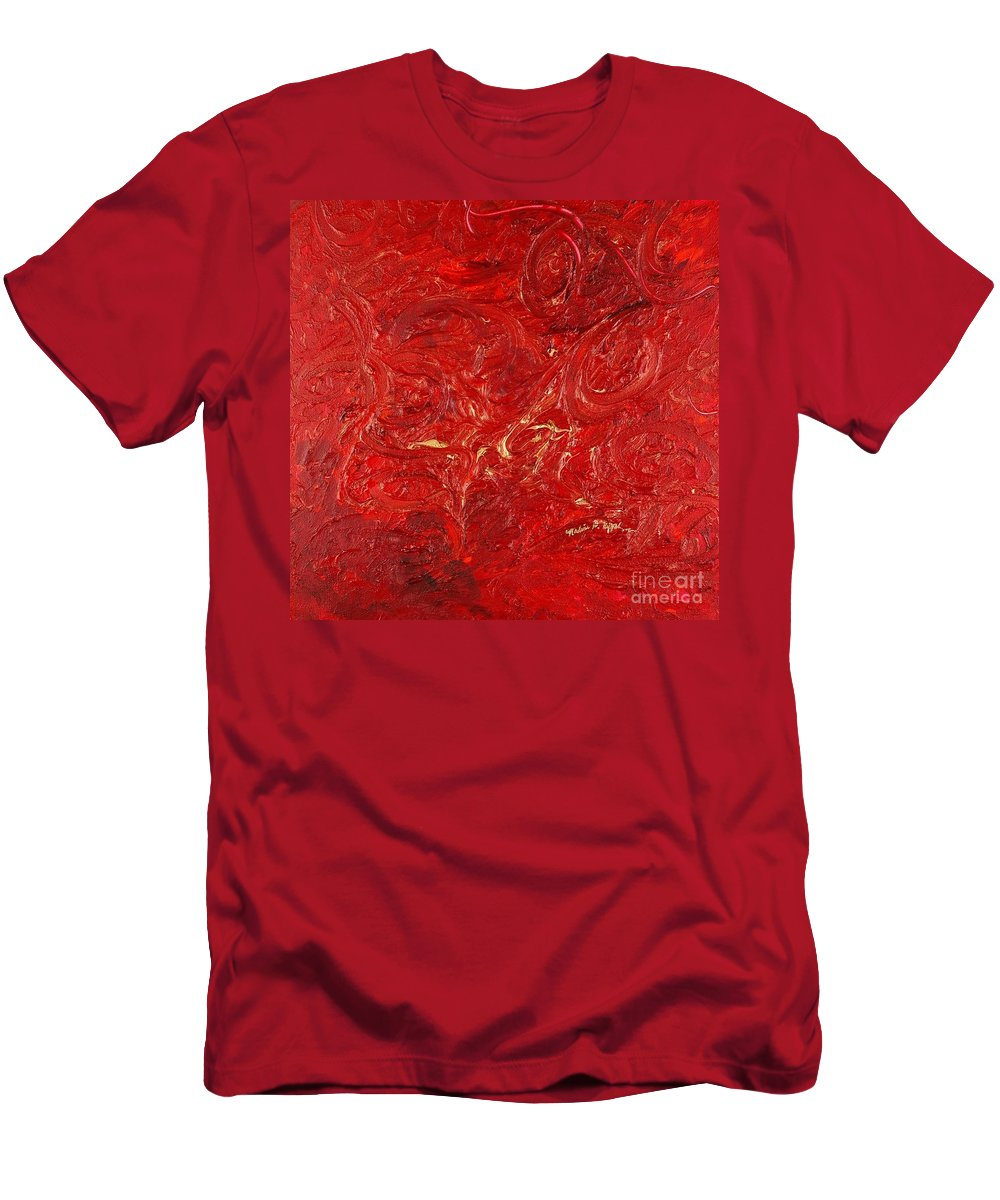 Red T-Shirt featuring the painting Celebration by Nadine Rippelmeyer