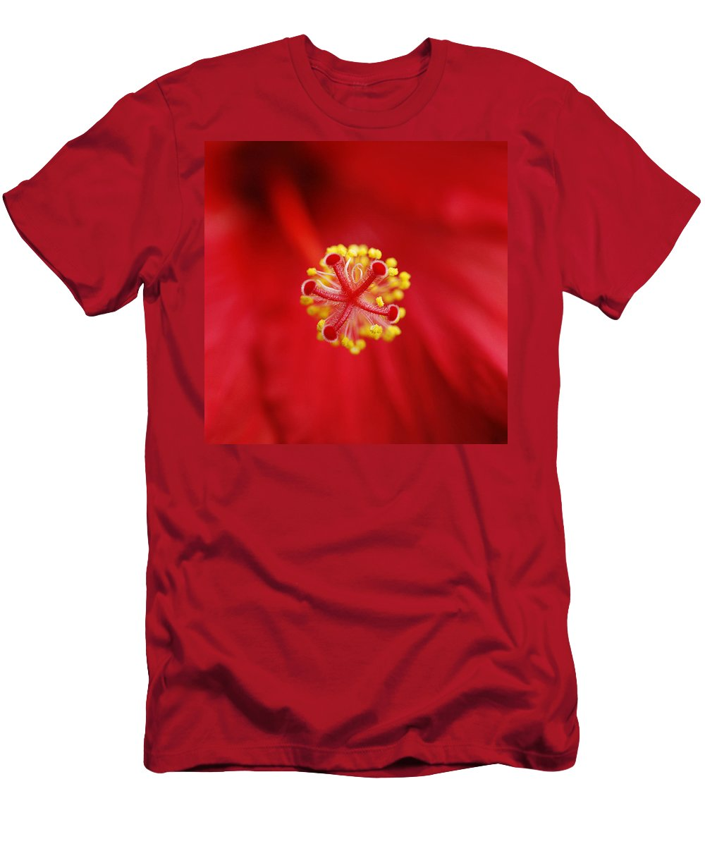 Flower Men's T-Shirt (Athletic Fit) featuring the photograph Center Of The Hibiscus Universe by Marilyn Hunt