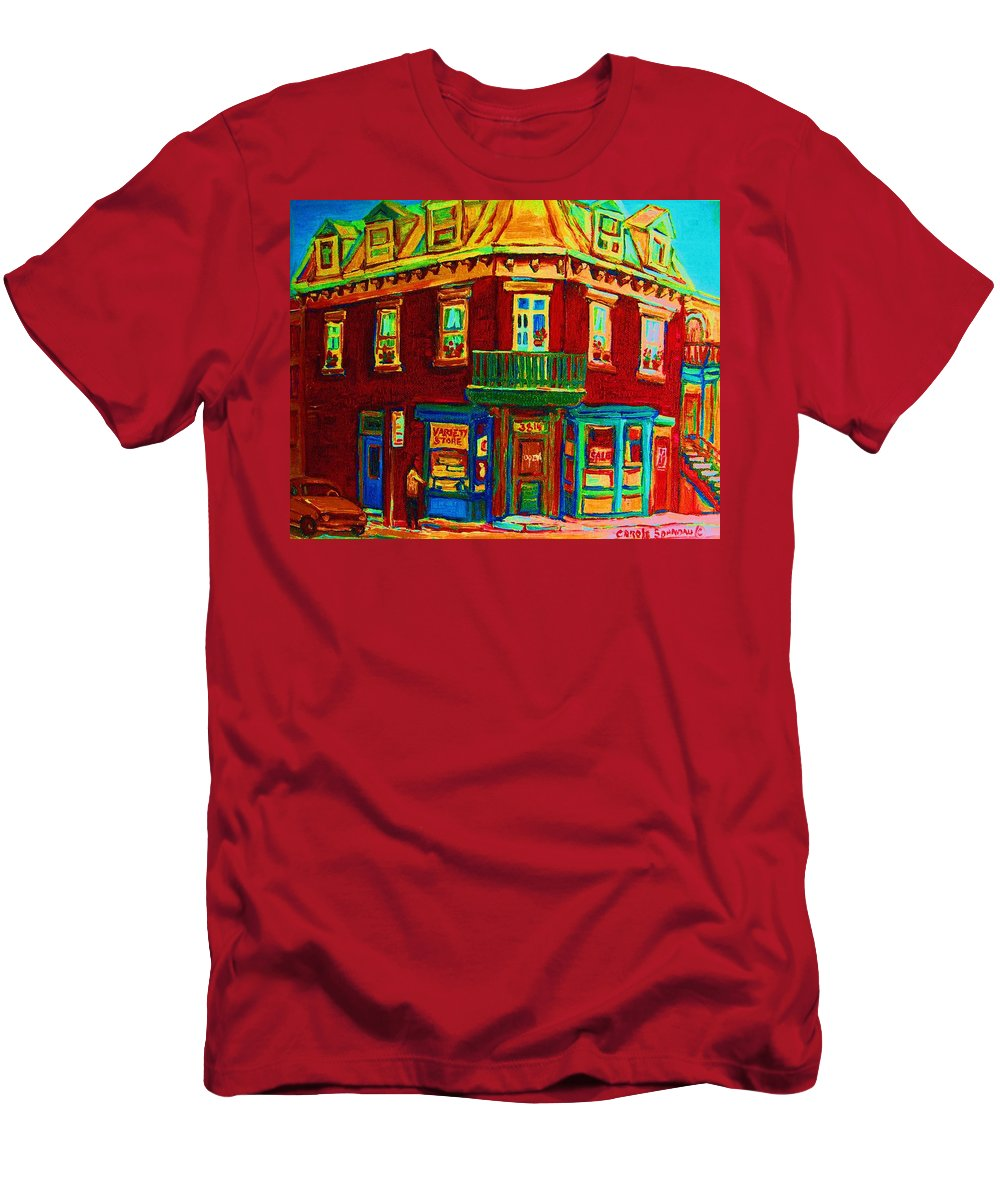 Plateau Montreal Charming Corner Stores Street Scenes Men's T-Shirt (Athletic Fit) featuring the painting Charming Store On The Corner by Carole Spandau