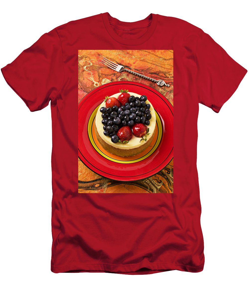 Fruit Men's T-Shirt (Athletic Fit) featuring the photograph Cheesecake On Red Plate by Garry Gay